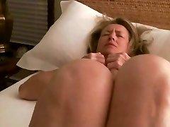 Cougar masturbates to orgasm