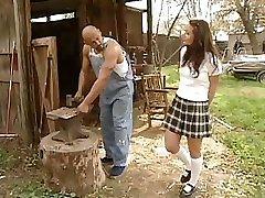 College Girl Daniella Rush gets a hard schlong to pound on the farm