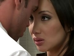 Oriental cutie receives humped in the office