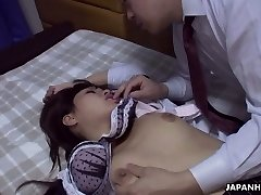 Co-worker fucks pretty super-hot Asian babe Rika Namikawa after a corporate soiree