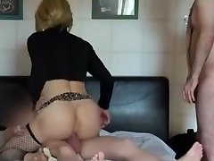 Two COCKS IN A SISSY-FAGGOT'S HOLE