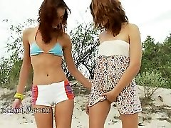 Russian teenies vibrating on the beach