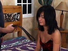Hot dark-hued hair babe gets a spanking in bedroom