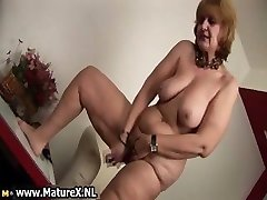 Old bare housewife is sucking big part5