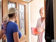 Desperate housewife Kenzie Taylor smashes bald headed stranger after Bf dumped her