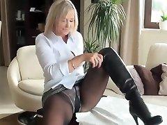 Hot milf in stockings nn show