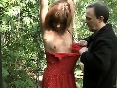 Teenager slave tied spanked and fucked in the forest