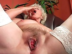 Ugly wrinkled and too old super-bitch goes solo to satisfy her wet mature cunt