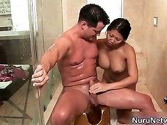 Nasty extreme horny asian babe blows