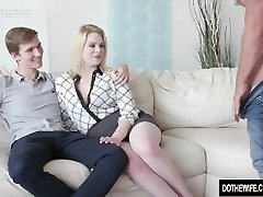 Blond Wife Adry Berty Ravages a Stud in Front of Her Loser Husband