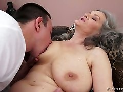 Sex-starved granny with big natural tits gives hot dt to her lover