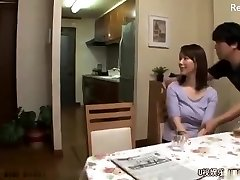 Japanese mom get fucked after husband leaves for work