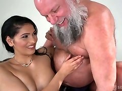 Huge-titted and sexy beauty Ava Black rides older man's intense cock on top