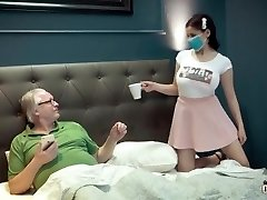 Busty young thing under quarantine with old grandfather
