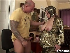 Fat ugly and turned on granny gives a oral pleasure and rides mighty cock