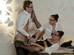 Aidra Fox and her accomplice give blowjob to horny boss