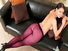 Purple nylon pantyhose on hot gal