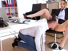 Russian biz woman in the office gets an orgasm from spunky fu...