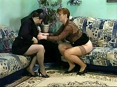 Mature brunette babe licks her friends raw pussy