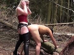 Rough english mistress humiliating sub outdoors