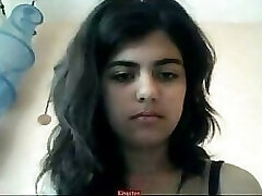 Indian doll strips on webcam