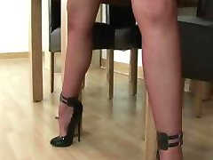 Nasty mature fetish brit in stockings