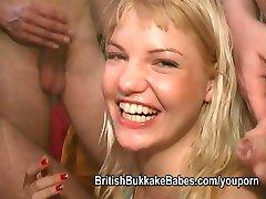 Greedy girls at a homemade bukkake party