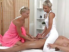 Young blondes ride cock while licking pussy