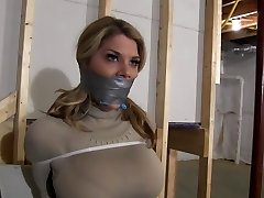 Chesty Blonde Restrained with Zip Trusses & Gagged