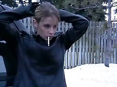 Smoking Gal in Leather Jacket and Mittens 2