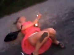 Pissed Girl Ambling and Falling Over Demonstrating Her White Panti