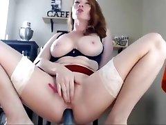 Redhead chesty goddess masturbating unloading on webcam