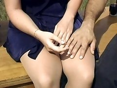 Fabulous blonde pantyhose fuck outdoors