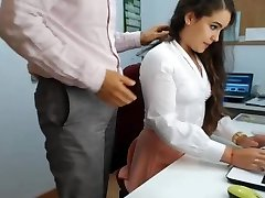 steaming brunette secretary frolicking in office 1