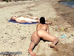 Nikki Litte in Lovely Glorious spanish girl frolicking naked on the beach and peeing on older guy  - MMM100