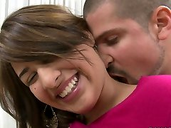 Shy blonde teen Esperanza Rojas is happy to cram her jaws with pipe