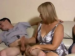 Mother and daughter jerking 2 dudes off