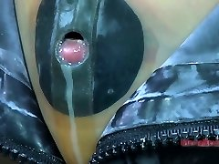 Tight ebony rubber mask makes Kristine Andrews suffocate and cry