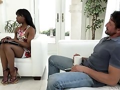 Sexy black chick faps and blows ginormous white dick on the couch