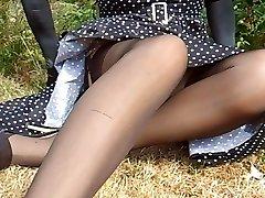 Polkadot Dress Black Nylon Pantyhose