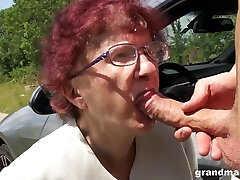 Kinky granny gives a deep throat and tugjob to one cosseted young guy