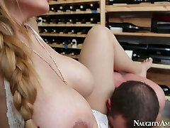 Violent stud Jordan Ash fucks mega busty hottie Yurizan Beltran in wine cellar