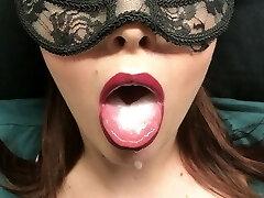 Submissive, slow deepthroat moaning blowjob, mouthful of cum - custom flick