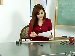 Horny teacher gives her dark-hued college girl the best blowjob of his life