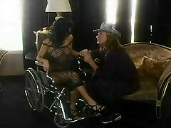 Sativa Rose's cell licked in a wheelchair then cocked on the living guest room floor