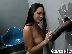 Busty babe gobbles big black cock