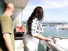 Lusty Latina Sofia Rose Plows on Miami Balcony