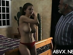 Undressed woman restrain bondage at home with horny man