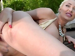 Pink Twat Penetration Strap-On Glorification In The Pool