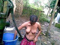Desi Village Girl with Big Tits Taking Bath in Public